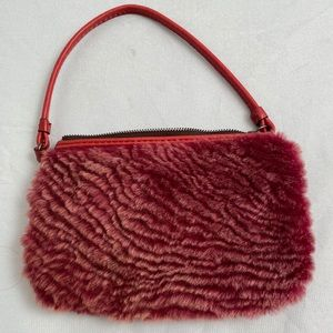 Patricia Nash red leather/Sherpa wristlet